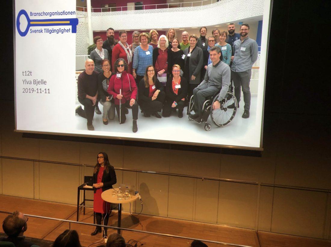 bild från föreläsning där Ylva Bjelle berättar om konsulterna i Svensk Tillgänglighet