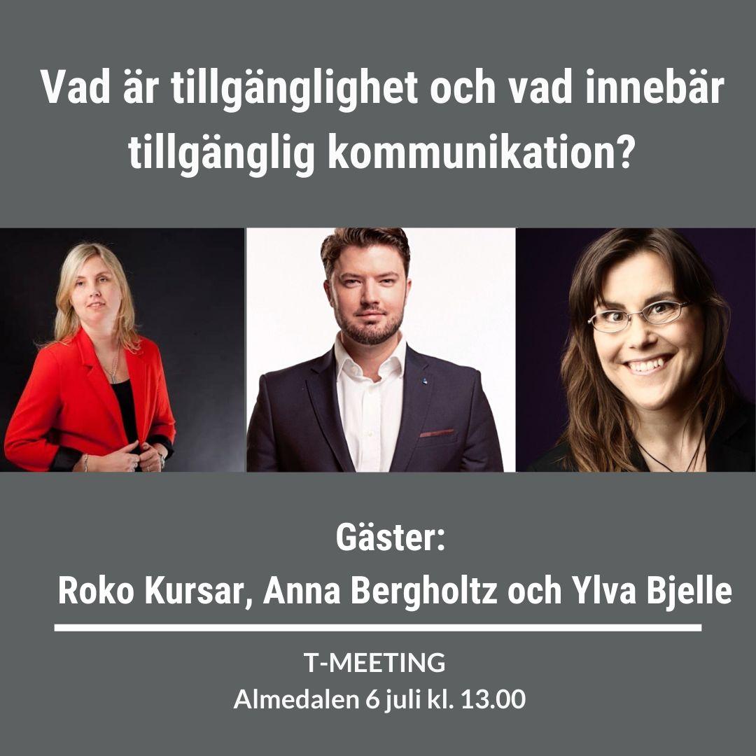 Fyrkantig inbjudan till seminariet med bild på de tre gästerna.